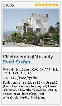 Limba.com - Sveti Stefan, Fizetvendglt-hely, Szlls 17606