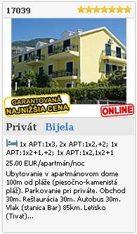 Limba.com - Bijela, Privát, Ubytovanie 17039
